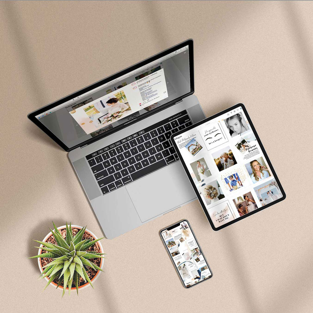 Visuelle Darstellung: Social-Media-Feed Gestaltung und Branding für Simply Yes Wedding.